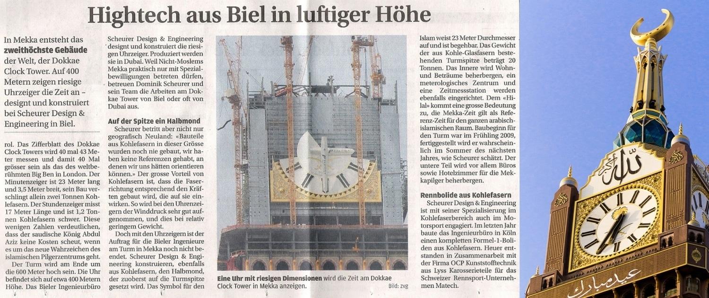 In Mekka steht das zweithöchste Gebäude der Welt, der Royal Clock Tower, designt und konstruiert von der Scheurer Swiss GmbH.