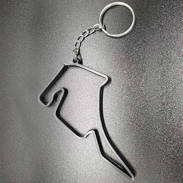 Rennstrecke Hockenheimring, stylischer Schlüsselanhänger für Motorsportfans, aus strapazierfähigem Nylon mit Schlüsselring, Grösse ca. 8 cm.